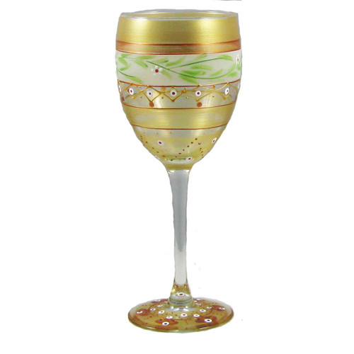 "Set of 2 Gold Mosaic Garland Hand Painted Wine Drinking Glasses 8"" - IMAGE 1"