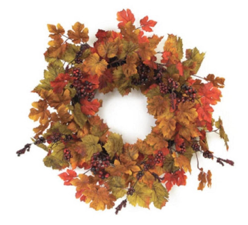 Green and Yellow Maple Leaves Artificial Spring Wreath - 24-Inch, Unlit - IMAGE 1