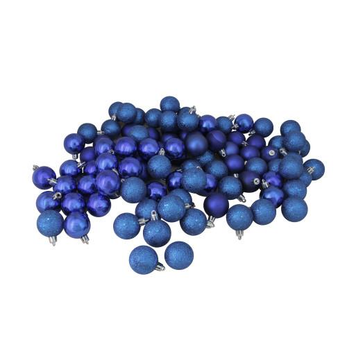 "96ct Royal Blue Shatterproof 4-Finish Christmas Ball Ornaments 1.5"" (40mm) - IMAGE 1"
