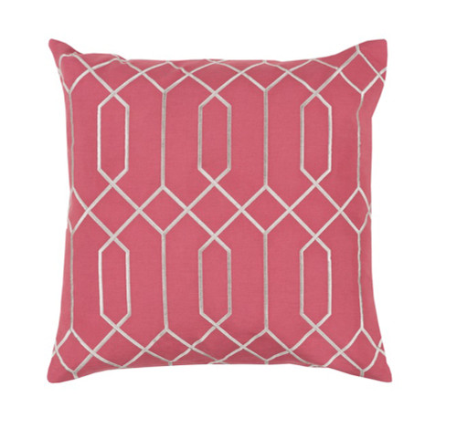 """20"""" Pink and Gray Geometric Square Throw Pillow - IMAGE 1"""