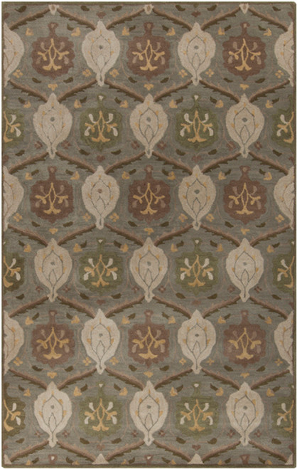 4' x 4' Gray and Olive Green Floral Hand Tufted Wool Area Throw Rug - IMAGE 1