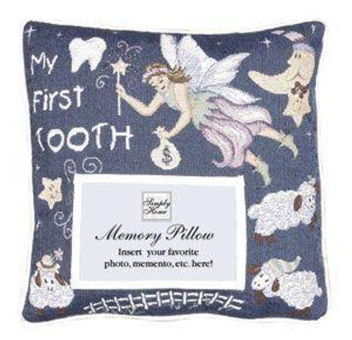 """12"""" Blue and White 'My First Tooth' Fairy Square Throw Pillow - IMAGE 1"""
