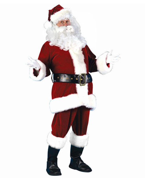 Red and White Plush Velour Santa Claus Women Christmas Costume Suit - Standard Size - IMAGE 1