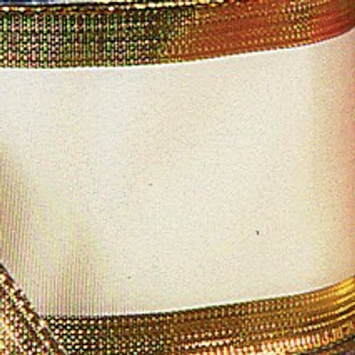 """Cream with Gold Edge Wired Craft Ribbon 1.5"""" x 27 Yards - IMAGE 1"""