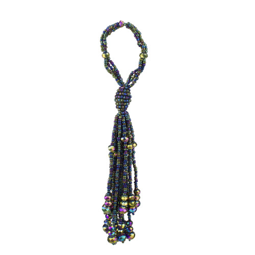 """7"""" Purple and Green Beaded Ball with Tassels Christmas Ornament - IMAGE 1"""