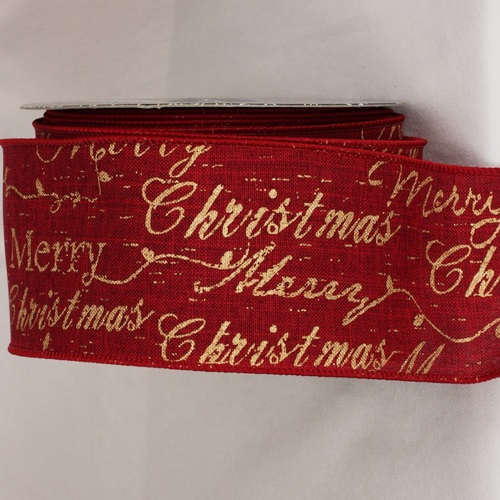 "Burgundy Red and Gold Merry Christmas Scripted Wired Craft Ribbon 3"" x 20 yards - IMAGE 1"