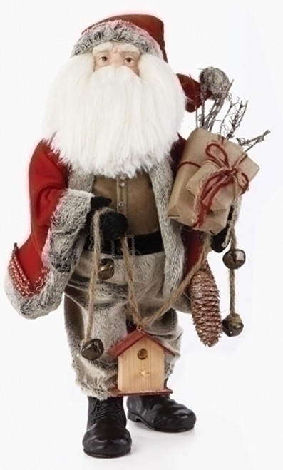 """20"""" Red and Gray Traditional Santa Claus with Birdhouse Christmas Figurine - IMAGE 1"""