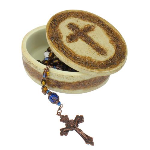 "23"" Byzantine Blue and Amber 6mm Glass Beaded Rosary with Keepsake Box - IMAGE 1"