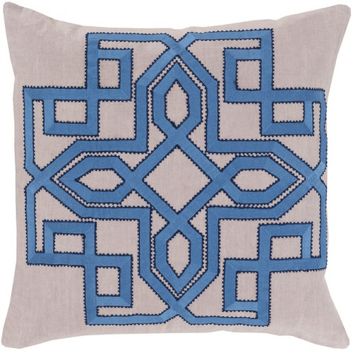 """18"""" Aero Blue and Beige Woven Square Throw Pillow - Down Filler - IMAGE 1"""