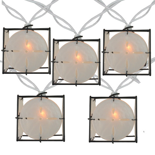 10 Pearlized White and Black Lantern Party Patio Christmas Lights - 7.5 ft White Wire - IMAGE 1