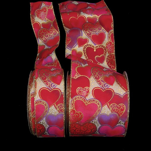 """Red and Gold Golden Heart Print Wired Craft Ribbon 2"""" x 20 Yards - IMAGE 1"""