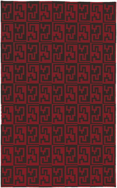 8' x 11' Blood Red and Mocha Brown Hand Woven Rectangular Area Throw Rug - IMAGE 1