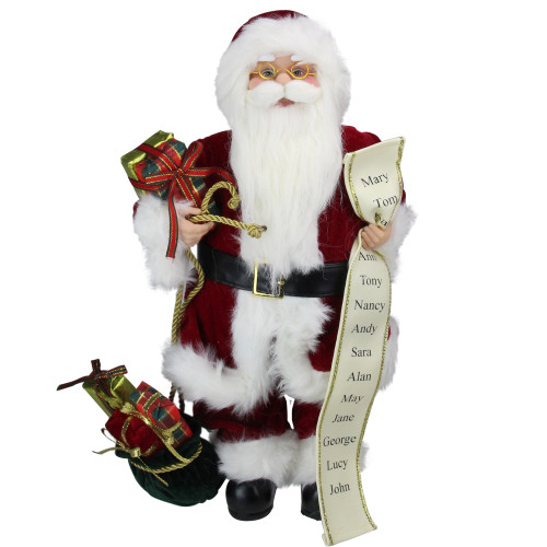 "16"" Red Traditional Standing Santa Claus Christmas Figure with Naughty or Nice List - IMAGE 1"