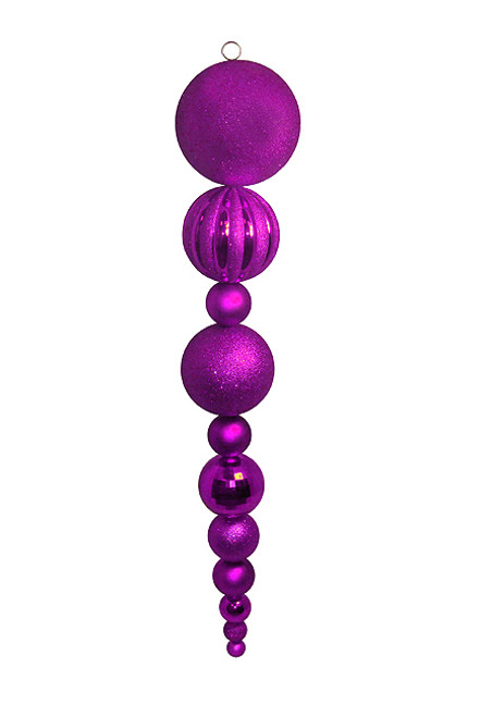 """55"""" Purple and Silver Shatterproof Christmas Finial Ball Ornament - IMAGE 1"""