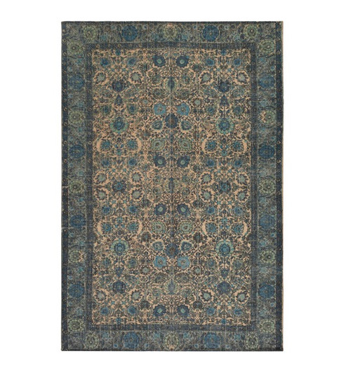 5' x 7.5' Mama's Garden Dark Slate Blue and Sand Brown Hand Woven Area Throw Rug - IMAGE 1