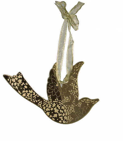 """5"""" Silver Bird with Floral Embedded Etching Glass Christmas Ornament - IMAGE 1"""