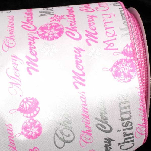 """Pink and White Merry Christmas Wired Craft Ribbon 5"""" x 20 Yards - IMAGE 1"""