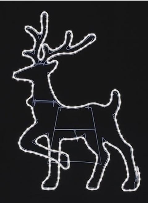 """37.75"""" Pure White LED Neon Flex Rope Light Reindeer Silhouette Christmas Outdoor Decoration - IMAGE 1"""