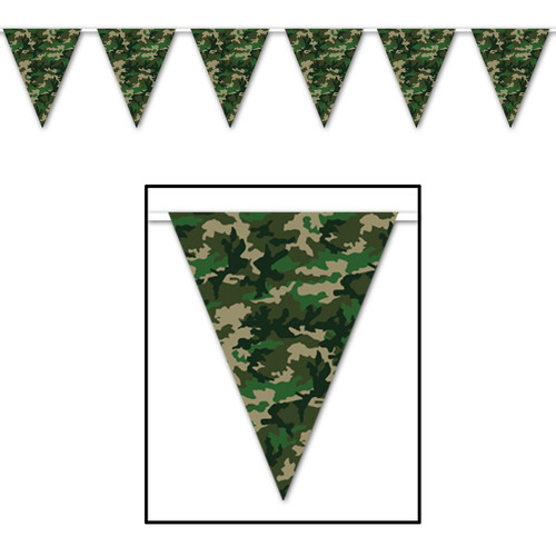 Club Pack of 12 Black and Green Camo Flag Outdoor Pennant Banner Hanging Party Decor 12' - IMAGE 1