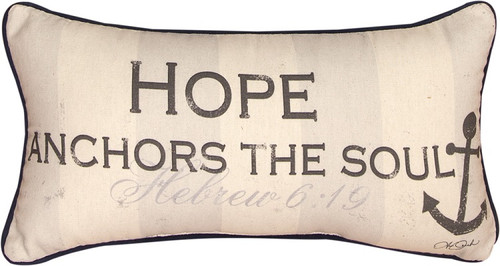 """17"""" Beige and Black """"Hope Anchors the Soul"""" Rectangular Decorative Throw Pillow - IMAGE 1"""