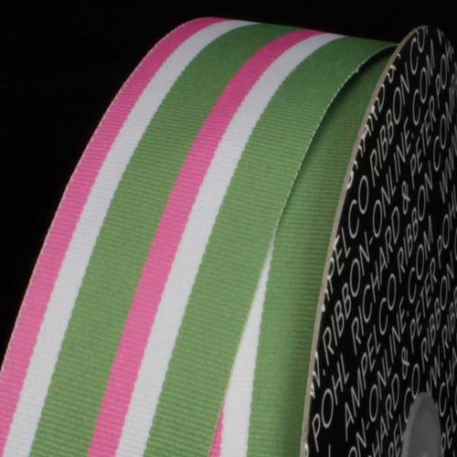 "White and Green Striped Woven Grosgrain Craft Ribbon 1.5"" x 55 Yards - IMAGE 1"