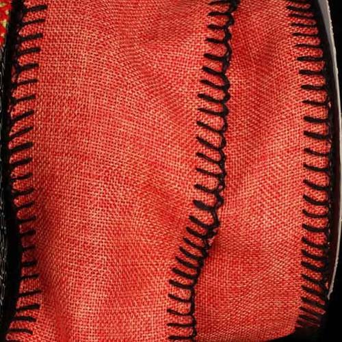 "Orange and Black Stitched Edge Wired Craft Ribbon 4"" x 20 Yards - IMAGE 1"