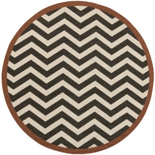 5.25' Brown and Black Machine Woven Round Outdoor Area Throw Rug - IMAGE 1