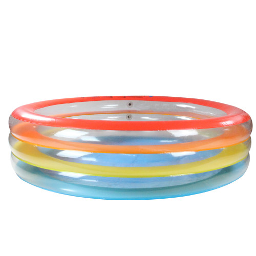 6.5' Inflatable Multi Color 3 Ring Transparent Swimming Pool - IMAGE 1
