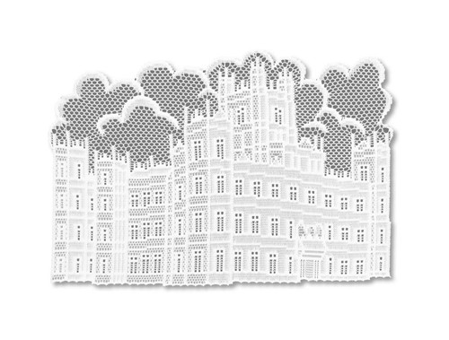 """Set of 4 White and Gray 'Downton Abbey' British Highclere Castle Placemats 14"""" x 20"""" - IMAGE 1"""