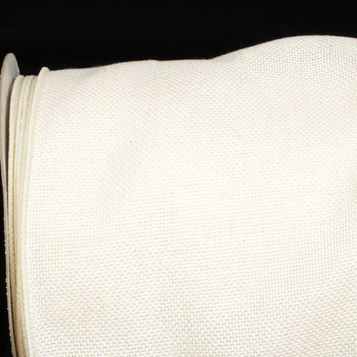 "Ivory Fine Burlap Wired Craft Ribbon 6"" x 20 Yards - IMAGE 1"