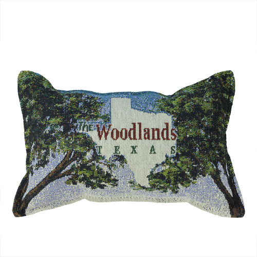 """12"""" Hunter Green and Blue 'Texas' Tapestry Rectangular Throw Pillow - IMAGE 1"""