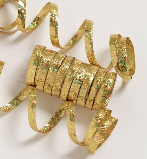 Pack of 6 Gold Spools of Ravishing Holographic Serpentine Party Streamers 12.5' - IMAGE 1