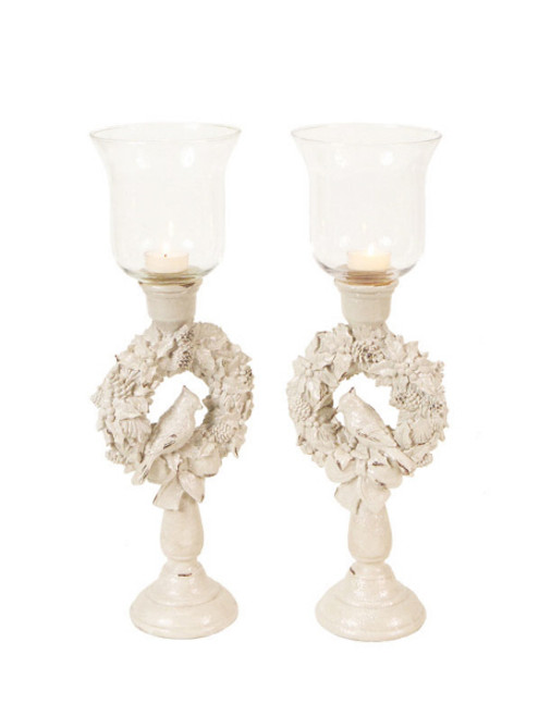 """Set of 2 Winter Solace Bird in a Christmas Wreath Glass Candle Holders 18"""" - IMAGE 1"""