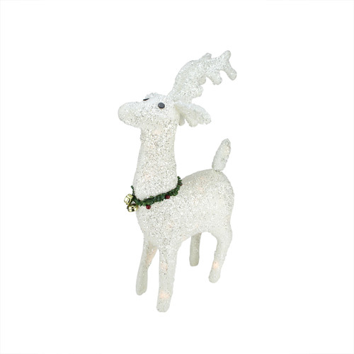 """28.5"""" White Plush Glittered Reindeer Christmas Outdoor Decoration - IMAGE 1"""