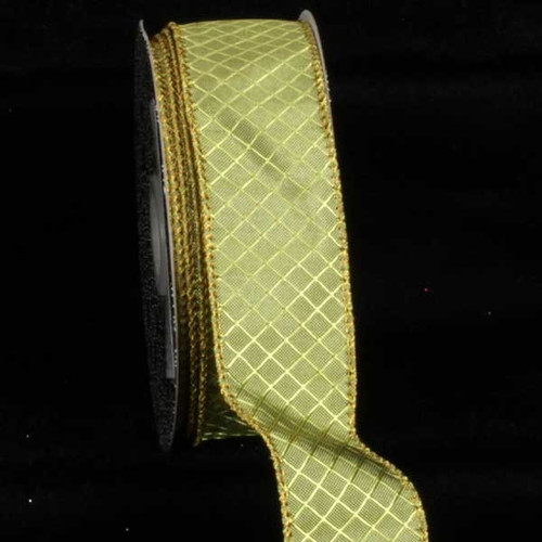 """Green and Gold Piazza Printed Wired Craft Ribbon 1.5"""" x 80 Yards - IMAGE 1"""