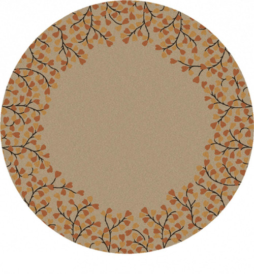9.75' Cream and Brown Floral Designed Hand Tufted Round Wool Area Throw Rug - IMAGE 1
