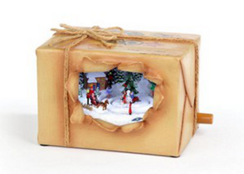 """Set of 2 Brown and White Animated Musical Peeking Christmas Package Figurines 4"""" - IMAGE 1"""