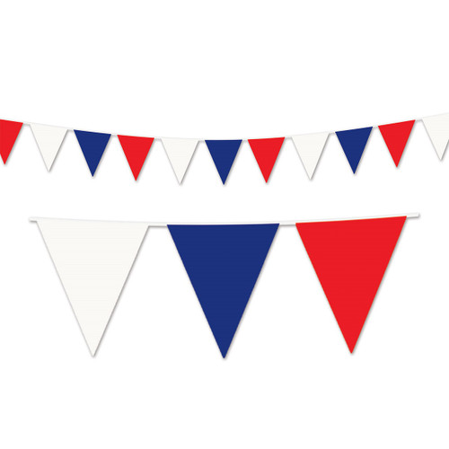 Club Pack of 12 White and Blue Patriotic Outdoor Pennant Banner Hanging Party Decor 120' - IMAGE 1
