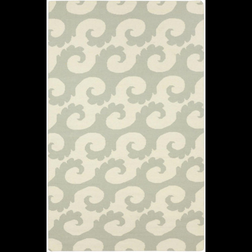 5' x 8' Sage Green and Ivory Hand Woven Rectangular Wool Area Throw Rug - IMAGE 1