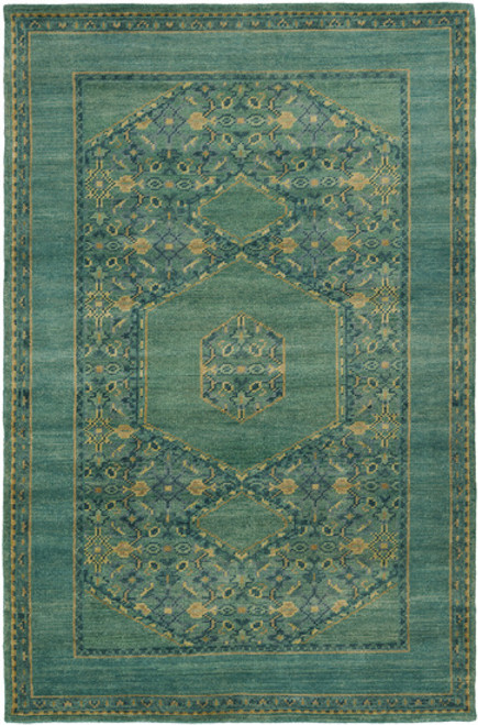 9' x 13' Modest Enlightenment Fresh Garden Green and Heavy Seafoam Hand Knotted Wool Area Rug - IMAGE 1