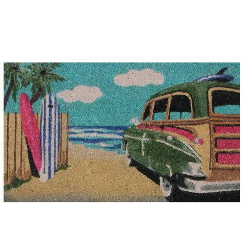 "Retro Car on Beach Rectangular Coir Door Mat 29.75"" x 17.75"" - IMAGE 1"