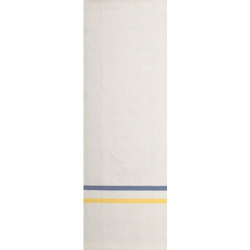 2.5' x 8' Ivory and Blue Striped Hand Tufted Wool Area Throw Rug Runner - IMAGE 1