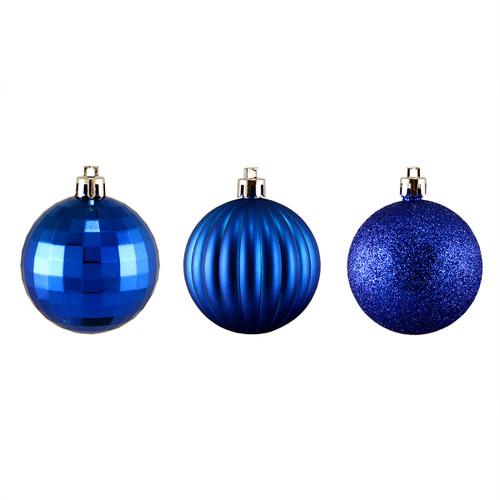 "100ct Lavish Blue Shatterproof 3-Finish Christmas Ball Ornaments 2.5"" (60mm) - IMAGE 1"
