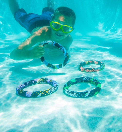 """Set of 4 Vibrantly Colored Swimming Pool Dive Rings 7.5"""" - IMAGE 1"""