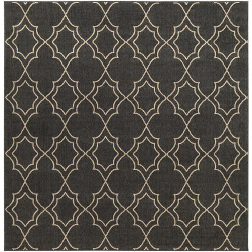 8.75' Black and Brown Contemporary Square Area Throw Rug - IMAGE 1