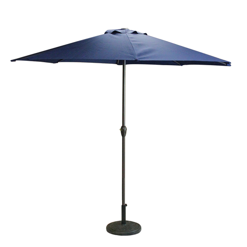 8ft Outdoor Patio Market Umbrella with Hand Crank and Tilt, Navy Blue - IMAGE 1