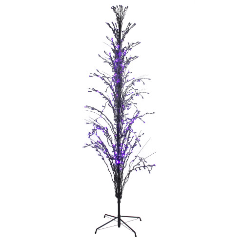 9' Purple LED Lighted Halloween Cascade Twig Tree Outdoor Decor - IMAGE 1