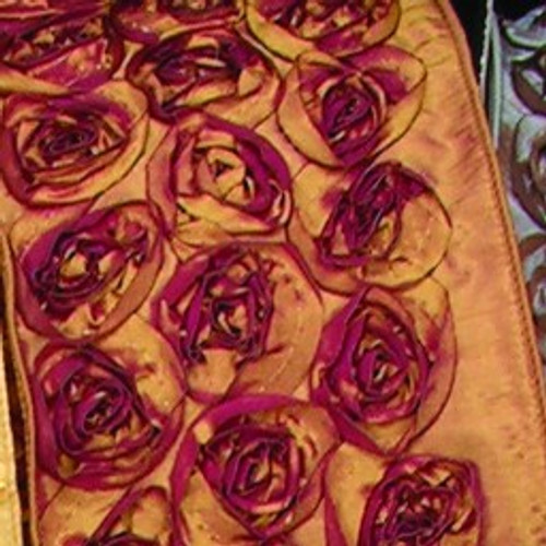 """Gold and Red Contemporary Roses Wired Craft Ribbon 4"""" x 10 Yards - IMAGE 1"""