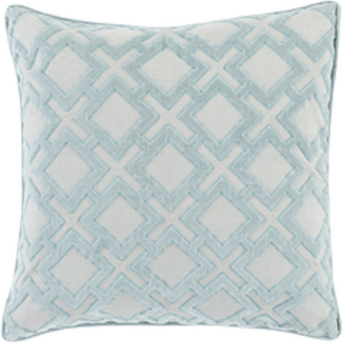 "22"" Blue and White Geometric Square Throw Pillow - Down Filler - IMAGE 1"