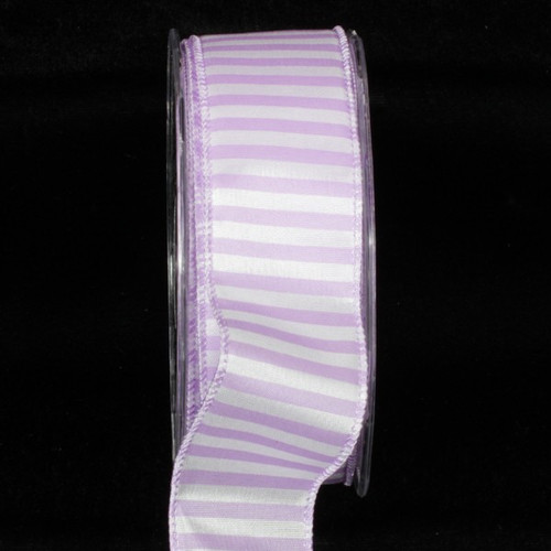 """Orchid Purple and White Striped Capri Wire Edged Craft Ribbon 1.5"""" x 54 Yards - IMAGE 1"""